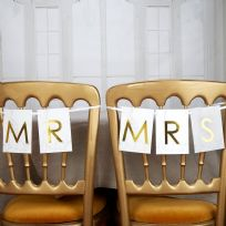 Scripted Marble Mr & Mrs Chair Bunting